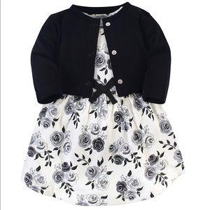 Girl dress cardigan set 100% cotton black white